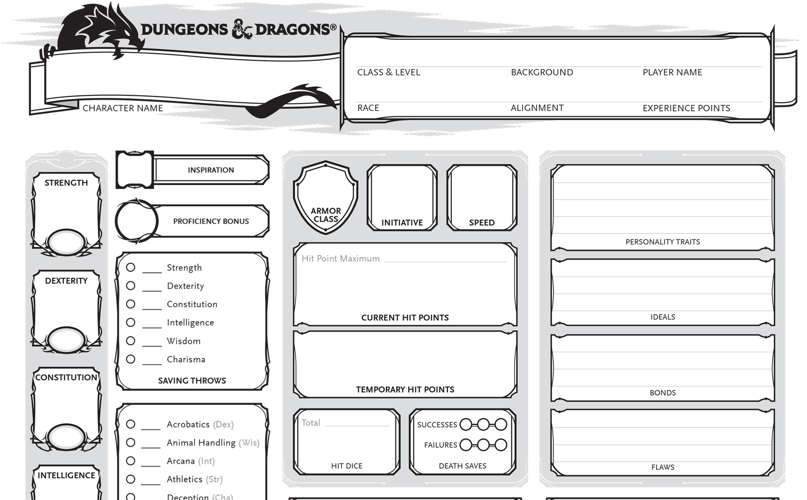 Character sheets in Dungeons & Dragons 5e.